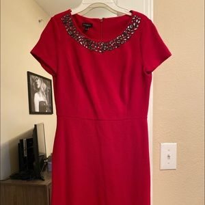 Ann Taylor red dress with cobalt beads